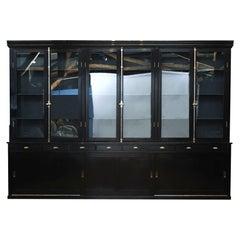 Large Black Painted Display Cabinet, Denmark 1900-1920