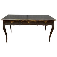 Large Black Painted Gustavian 3-Drawer Office Desk Table