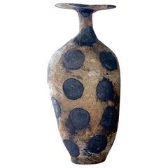 Large Black Polka Dot Vase By Brenda Holzke, USA, Contemporary