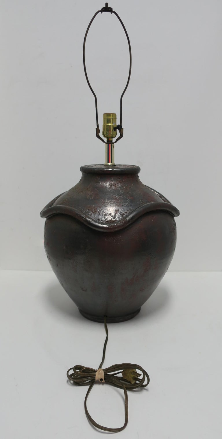 Large Black Pottery Lamp With Snake Design Circa 1970s