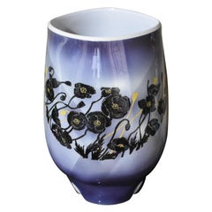 Large Black Purple Legged Ceramic Vase by Japanese Master Artist
