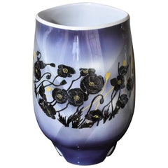 Large Black Blue Porcelain Vase by Contemporary Japanese Master Artist