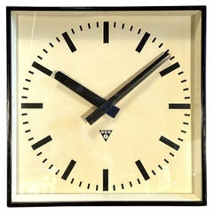 Large Black Square Wall Clock From Pragotron, 1960s