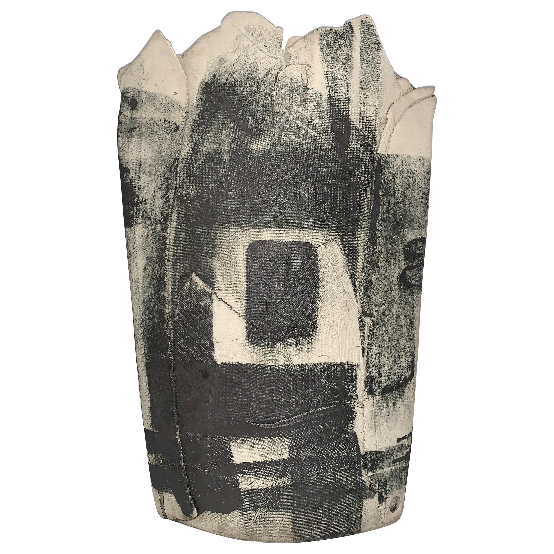 Large Black White Pottery Vessel