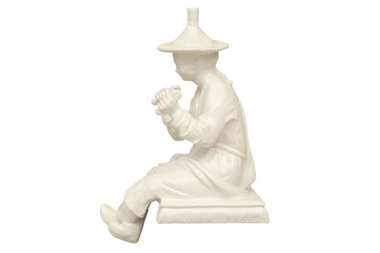 Large Blanc de Chine Asian Figure in Hollywood Regency Taste For Sale 2