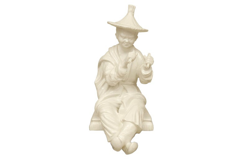 Chinese Export Large Blanc de Chine Asian Figure in Hollywood Regency Taste For Sale