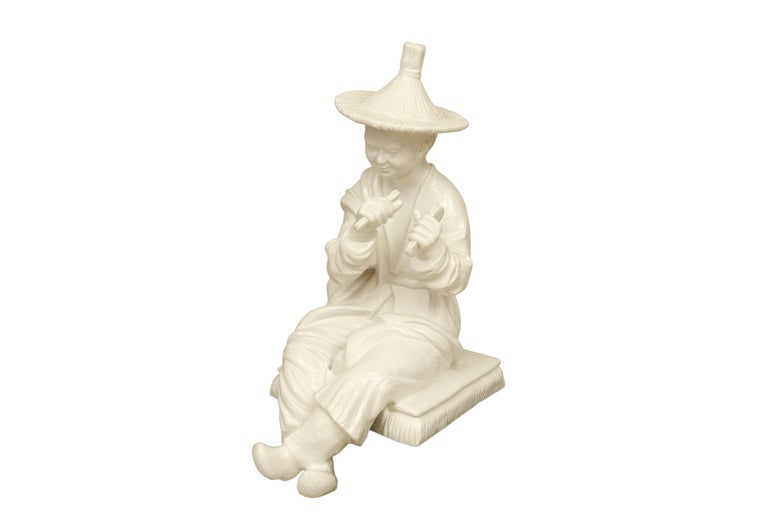Molded Large Blanc de Chine Asian Figure in Hollywood Regency Taste For Sale