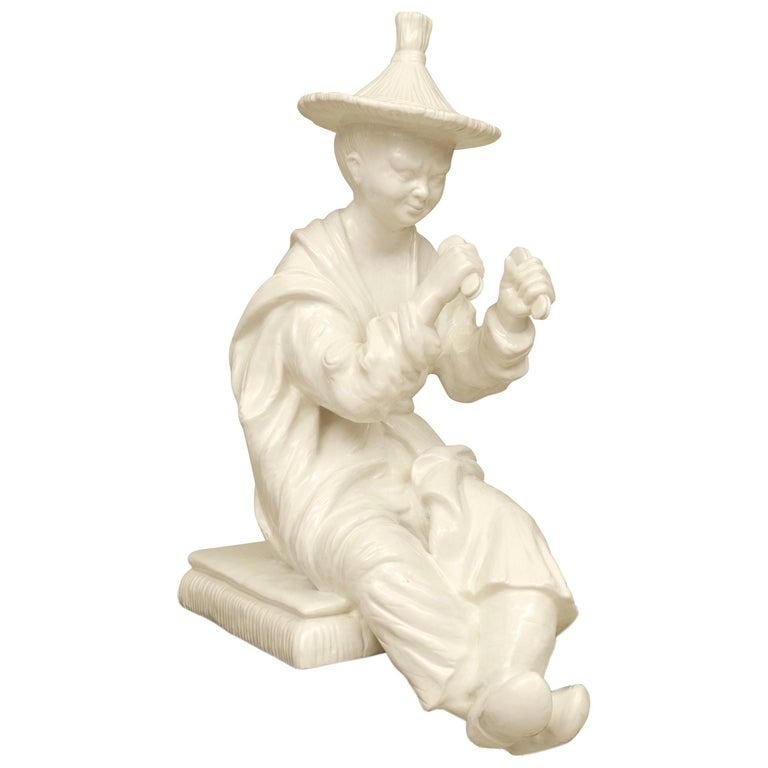 Large Blanc de Chine Asian Figure in Hollywood Regency Taste For Sale