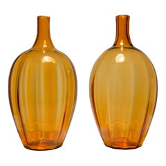 Large Blenko Amber Glass Lamps By Joel Philip Myers