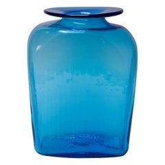 "Large Blenko Blown Glass Turquoise Asymmetrical ""Ribbed"" Vase"