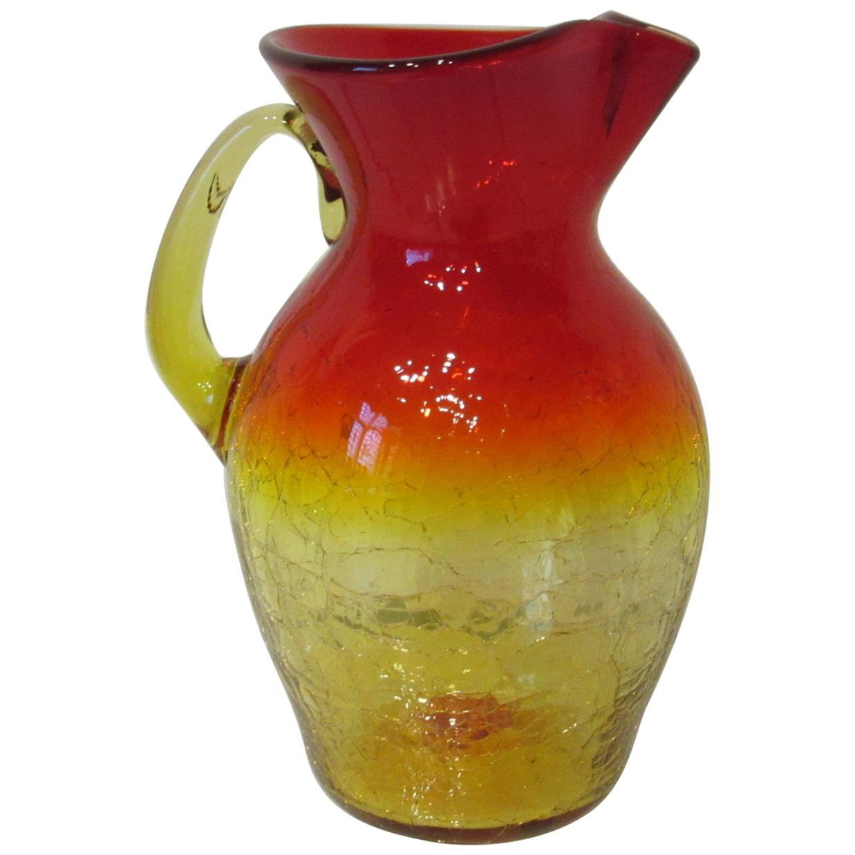 Large Blenko Crackle Pitcher by Wayne Husted