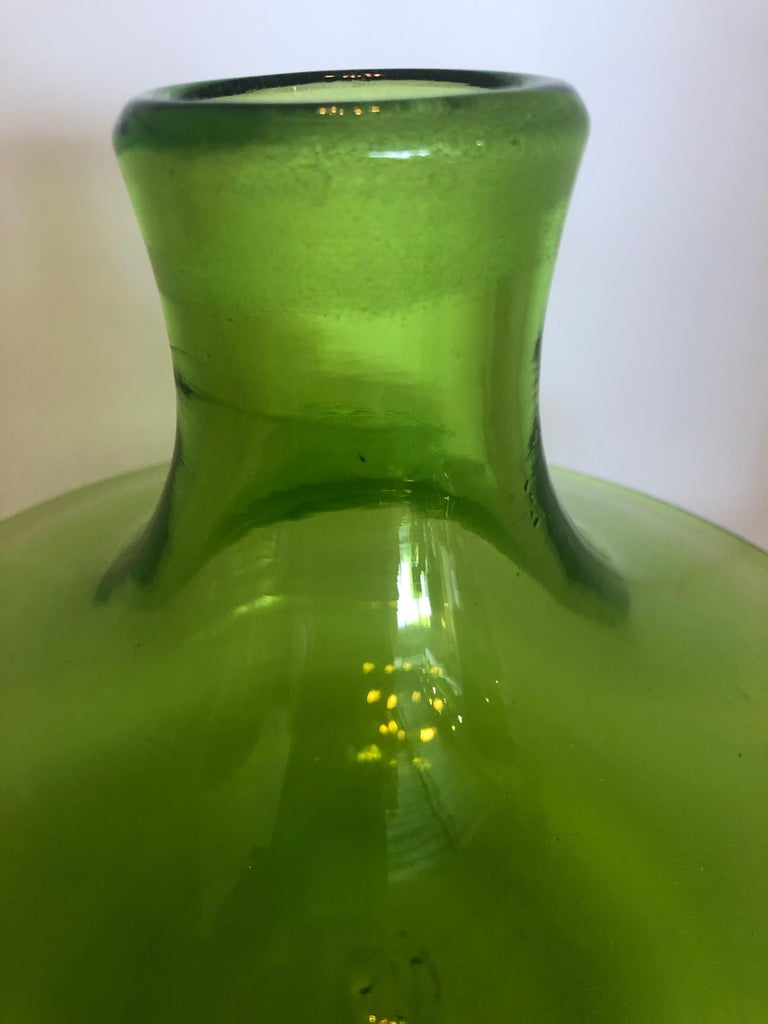Large Blenko Style Blown Glass Chartreuse Green Decanter with Large Ball Stopper For Sale 6
