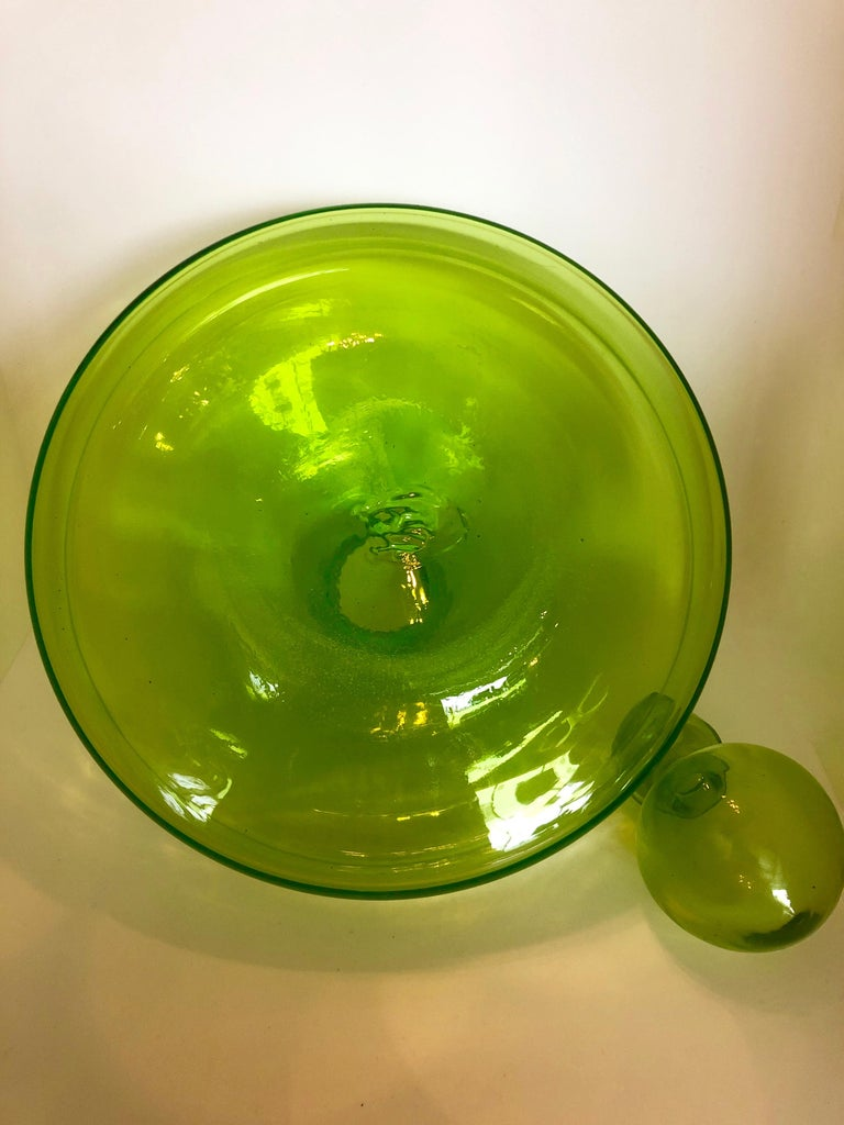 Large Blenko Style Blown Glass Chartreuse Green Decanter with Large Ball Stopper For Sale 2