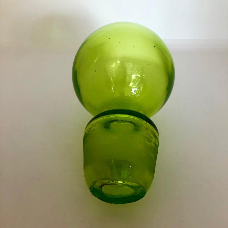 Large Blenko Style Blown Glass Chartreuse Green Decanter with Large Ball Stopper For Sale 11