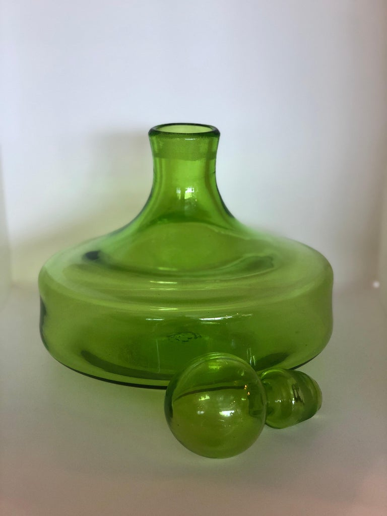 20th Century Large Blenko Style Blown Glass Chartreuse Green Decanter with Large Ball Stopper For Sale