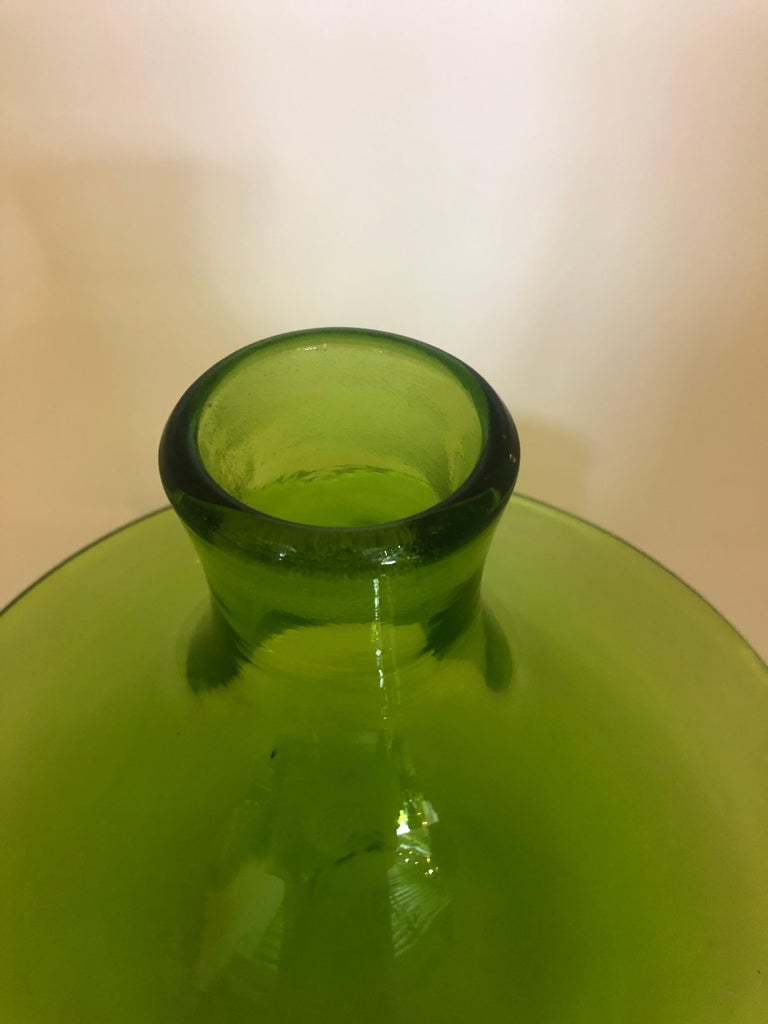 Large Blenko Style Blown Glass Chartreuse Green Decanter with Large Ball Stopper For Sale 1