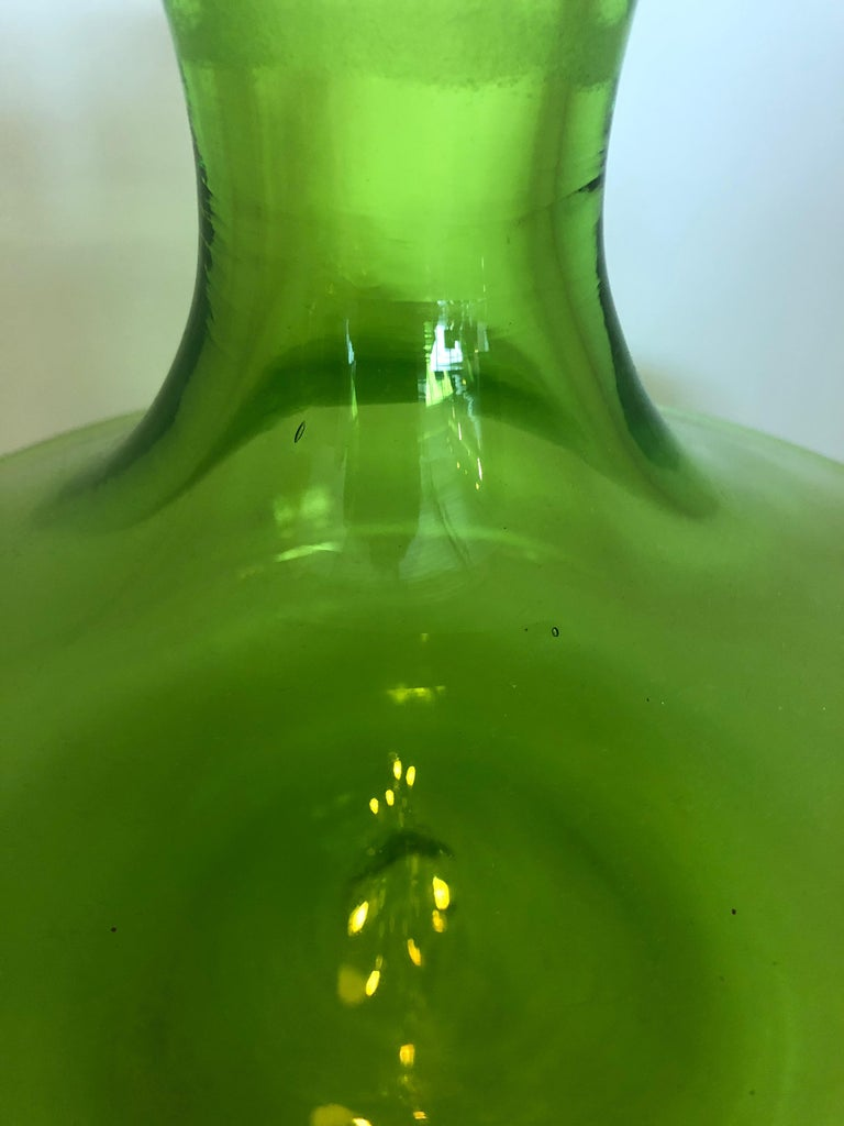 Large Blenko Style Blown Glass Chartreuse Green Decanter with Large Ball Stopper For Sale 4