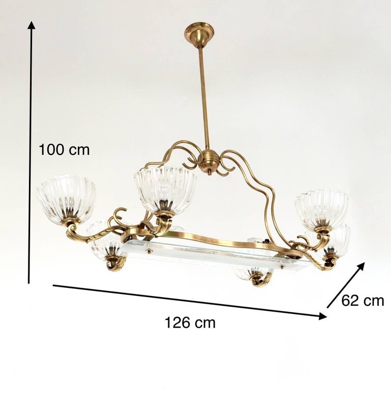 Large Blown Glass and Brass Chandelier by Ercole Barovier, Italy, 1940s For Sale 8