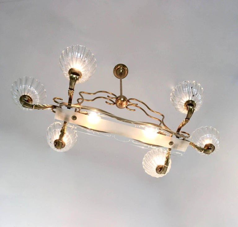 Cast Large Blown Glass and Brass Chandelier by Ercole Barovier, Italy, 1940s For Sale