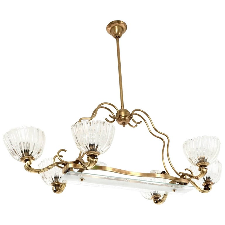 Large Blown Glass and Brass Chandelier by Ercole Barovier, Italy, 1940s For Sale