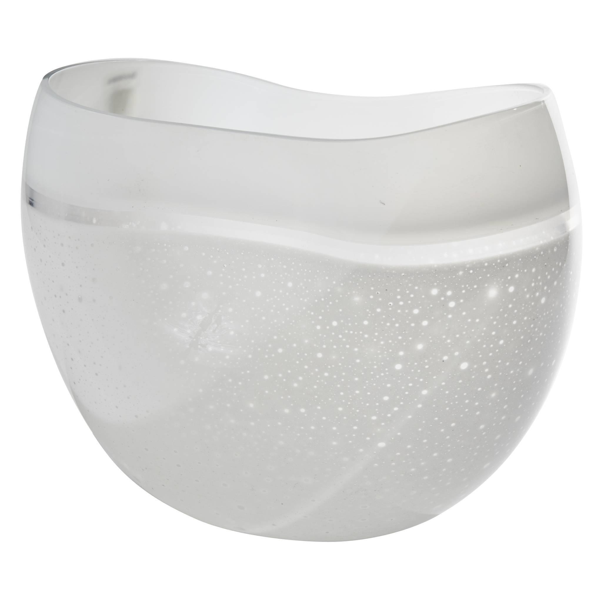 Large Blown White Art Glass Vase by Alfredo Barbini