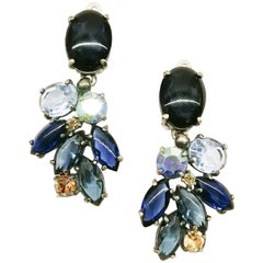 Large blue and soft brown paste drop earrings, Schiaparelli, 1954