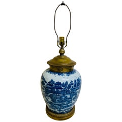Large Blue and White Chinese Export Vase with Ormolu Mounts as Lamp