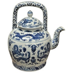Large Blue and White Decorative Chinese Porcelain Tea Pot with Dragon Design
