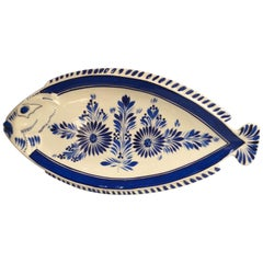 Large Blue and White Faience Fish Platter Quimper, circa 1930