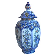 Large Blue and White French Faience Ginger Jar with Birds Desvres, circa 1880