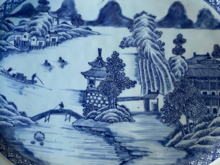 Qing Large Blue and White Hand-Painted Chinese Porcelain Platter, 18th Century c-1780 For Sale