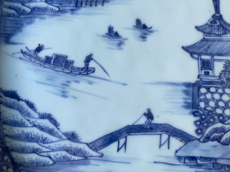 Large Blue and White Hand-Painted Chinese Porcelain Platter, 18th Century c-1780 In Excellent Condition For Sale In Katonah, NY