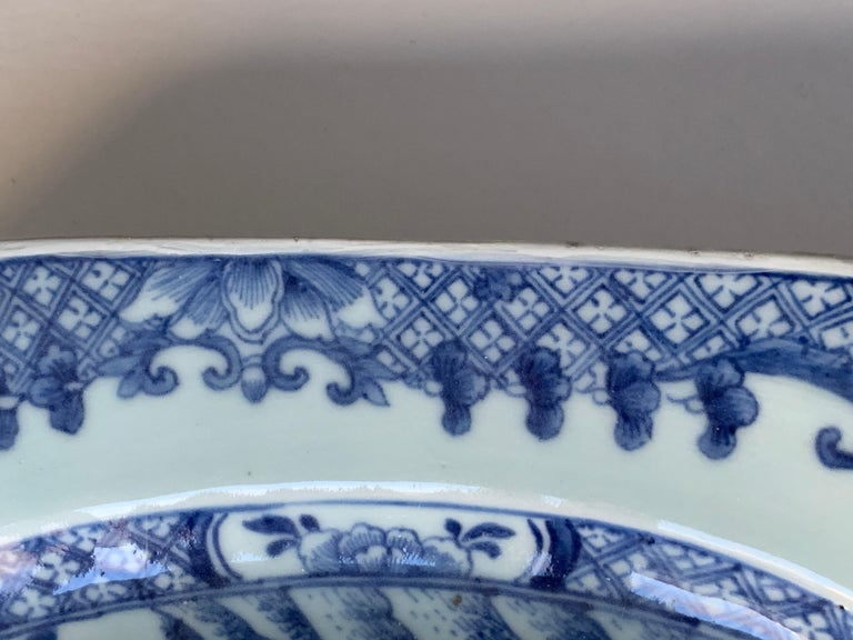 Large Blue and White Hand-Painted Chinese Porcelain Platter, 18th Century c-1780 For Sale 3