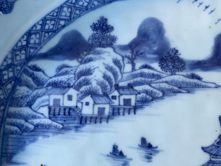 Large Blue and White Hand-Painted Chinese Porcelain Platter, 18th Century c-1780 For Sale 4
