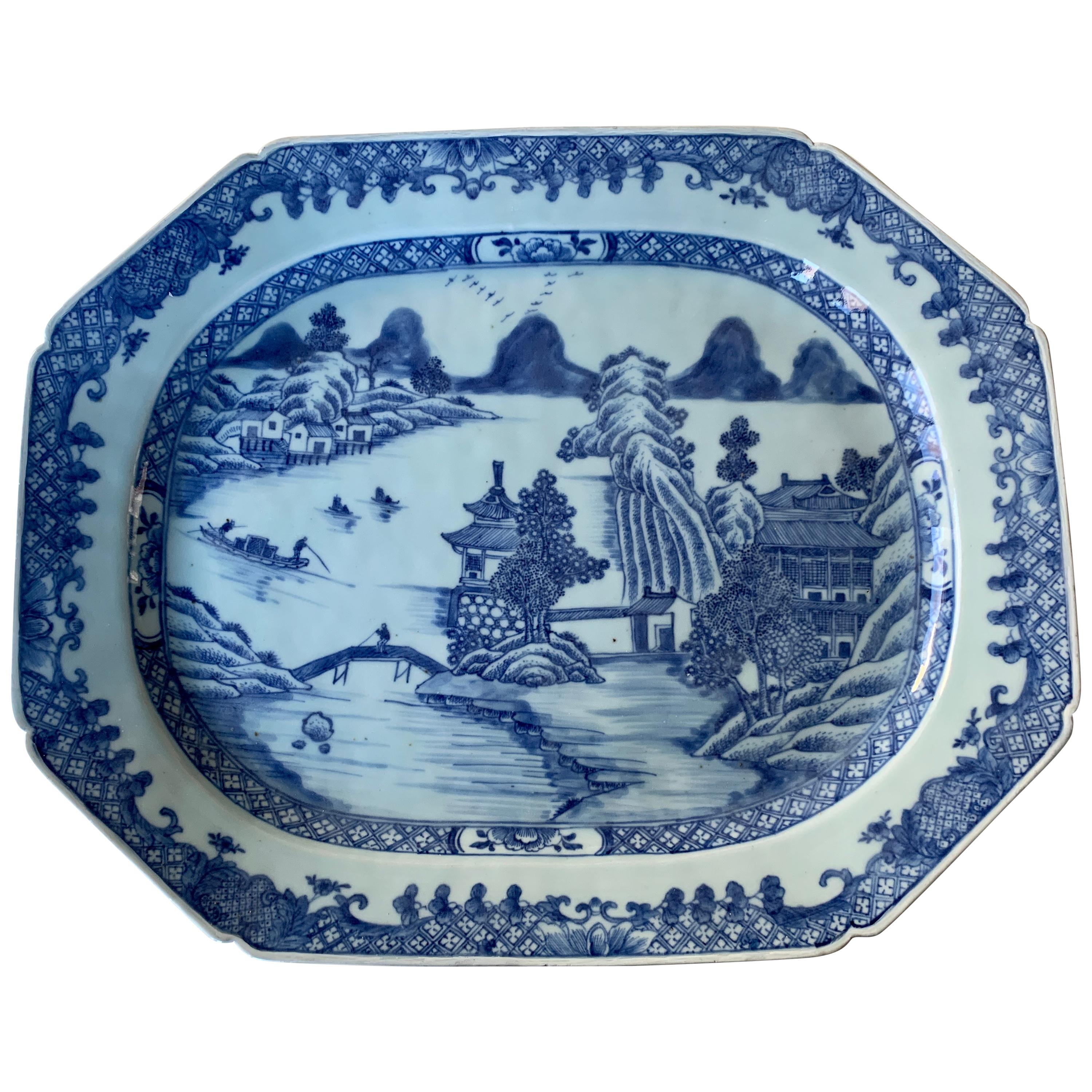 Large Blue and White Hand-Painted Chinese Porcelain Platter, 18th Century c-1780