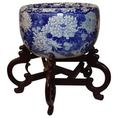 Large Blue and White, Hand-Painted Jardinière Decorated with Flowers