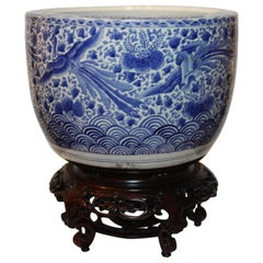Large Blue and White, Hand-Painted Jardinière with Peacocks and Flowers