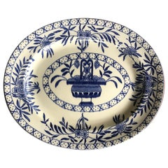 Large Blue and White Oval Platter