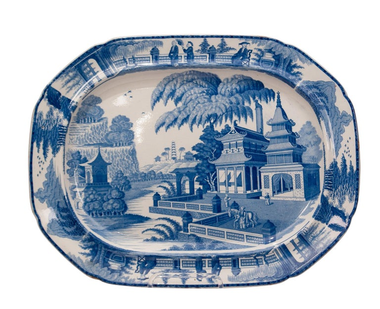 An early 19th century English large blue and white platter in the Chinese style, circa 1820.