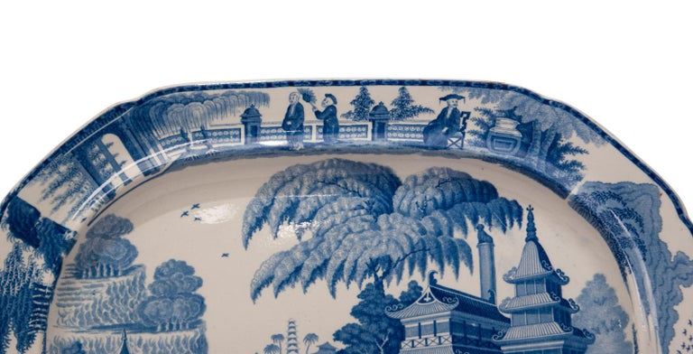 Chinoiserie Large Blue and White Platter in the Chinese Style, England, circa 1820 For Sale
