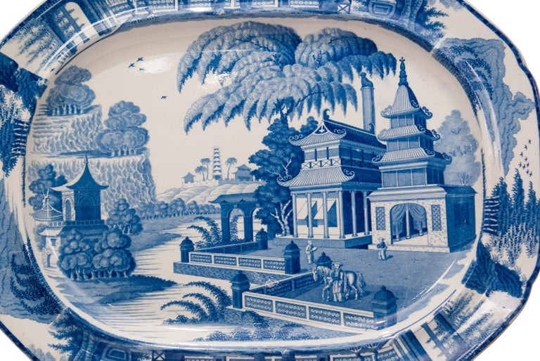 British Large Blue and White Platter in the Chinese Style, England, circa 1820 For Sale