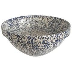 Large Blue and White Spongeware Bowl