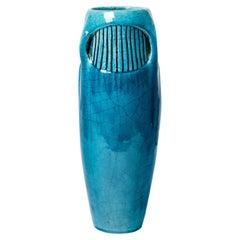 Large Blue Art Deco Ceramic Vase by Edmond Lachenal 1900 Decoration