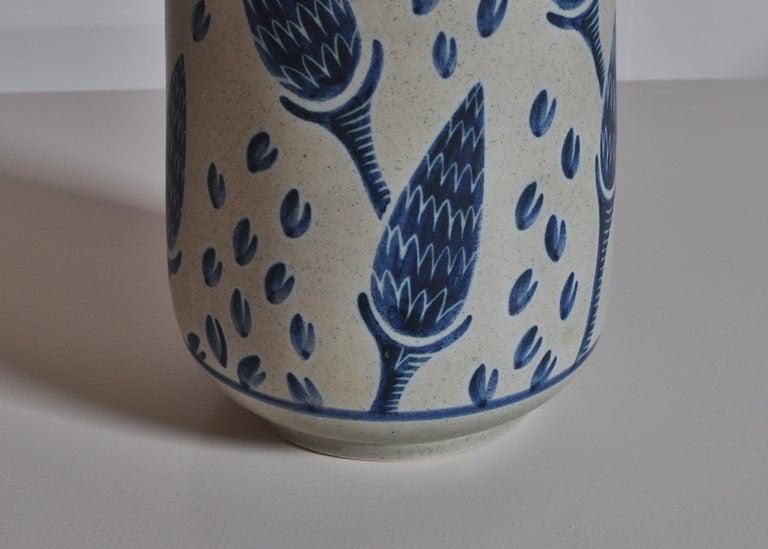 Scandinavian Modern Large Blue Ceramic Floor Vase by Rigmor Nielsen for Søholm, 1960s Danish Modern For Sale