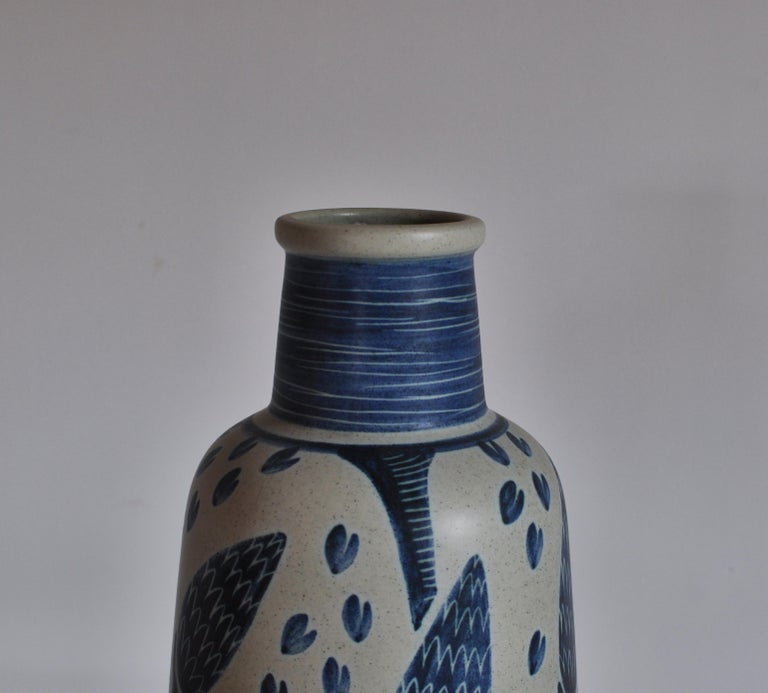 Large Blue Ceramic Floor Vase by Rigmor Nielsen for Søholm, 1960s Danish Modern In Good Condition For Sale In Odense, DK