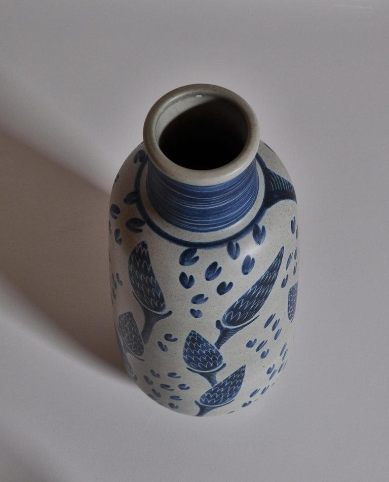 Mid-20th Century Large Blue Ceramic Floor Vase by Rigmor Nielsen for Søholm, 1960s Danish Modern For Sale