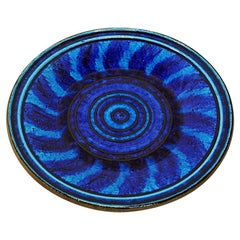 Large Blue Ceramic Plate by Inger Persson for Rörstrand, Sweden, 1960s