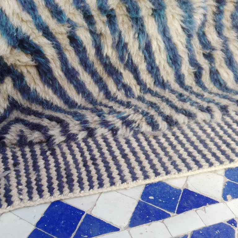 Large Blue Contemporary Moroccan Berber Rug In Excellent Condition In Amsterdam, NL