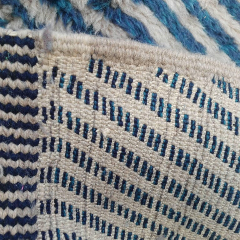 Wool Large Blue Contemporary Moroccan Berber Rug