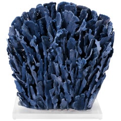 Large Blue Coral Sculpture on Lucite